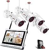 All-in-1 WLAN Überwachungskamera Set mit 12 Zoll...