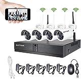 WLAN Überwachungskamera Set, 4CH NVR Kit mit 4...