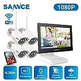 SANNCE Überwachungskamera Set mit Monitor 1080P...