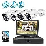 [Audio+Video] 5MP POE Überwachungskamera Set mit...