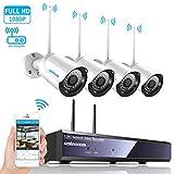4CH 1080p HD Überwachungskamera CCTV System mit...